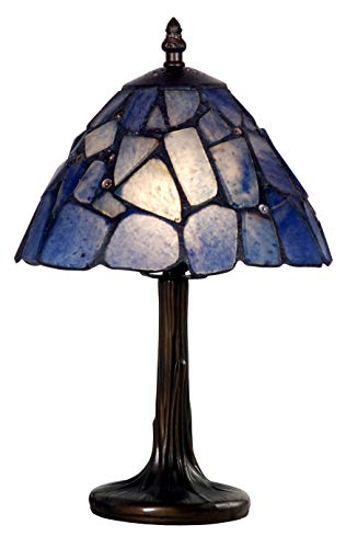 Mini Iron Accent Lamps - Tiffany Style Blue Stone and Jewel Lamp Small Mini Accent Decorative Antique Lighting Desk Bedroom Coffee Table Bedroom Living Room Bedside Reading Night Rock Pebble Glow13 x 8 inch Old Dark Brass