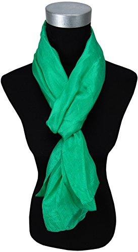 dames TigerTie soyeux-echarpe en vert unicolor - Echarpe taille 180 x 50 cm