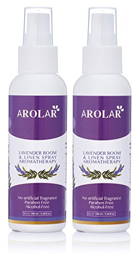 Lavender Room And Linen Spray - Natural Aromatherapy Mist & Beds Fresh Floral Spray For Relaxing Atmosphere, Room Air Freshener & Odor Eliminator - Prue Essential Oils, 3.38 Ounce Bottle, (Pack of 2) by AROLAR