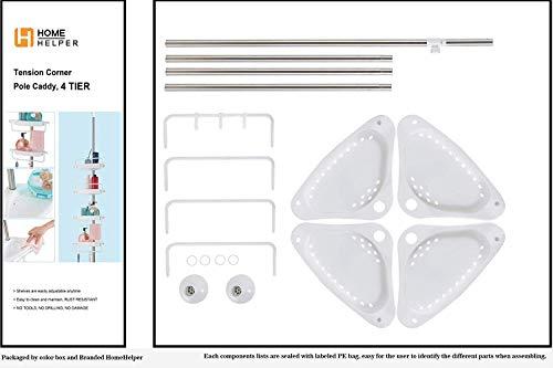 HomeHelper Tension Corner Shower Caddy, Rustproof Stainless Steel, 4 Positionable Shelves, Height Adjustable Among 4.7Ft to 9.3Ft