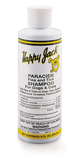 Happy Jack 8 Oz Paracide Flea and Tick Shampoo for Dogs, Puppies, Cats, and - Jack Dog Happy Supplies