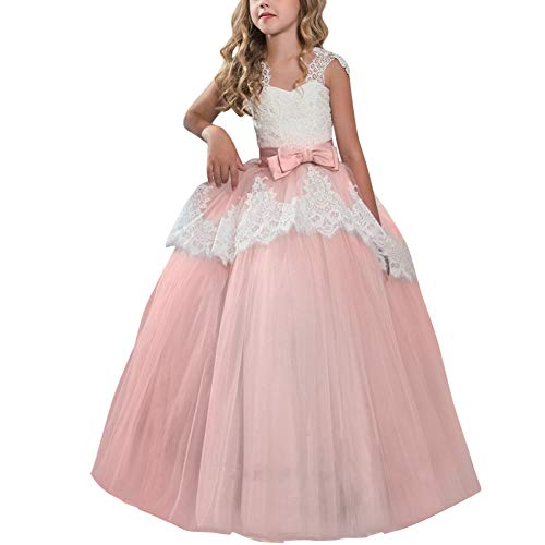 OBEEII Flower Girl Eyelash Lace Tutu Dress Floor Length Princess Junior Bridesmaid Pageant Wedding Communion Evening Gowns 9-10 Years ()