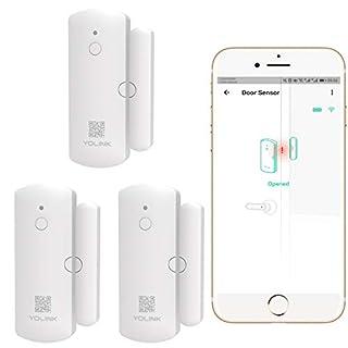 Smart Door Sensor 3 Pack, YoLink 1/4 Mile World's Longest Range Wireless Window Door Sensor Work with Alexa IFTTT, APP Monitoring Notifications Open Reminder Smart Home Security - YoLink Hub Required