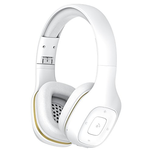 Bluetooth Headphones Over Ear, Hi-Fi Stereo Wireless Headset with Microphone, Foldable, Soft Memory-Protein Earmuffs, Wired and Wireless for PC/Cell Phones/TV(White)