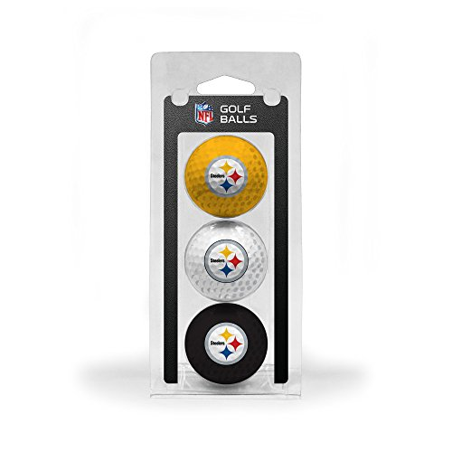 (Team Golf NFL Pittsburgh Steelers Regulation Size Golf Balls, 3 Pack, Full Color Durable Team Imprint)