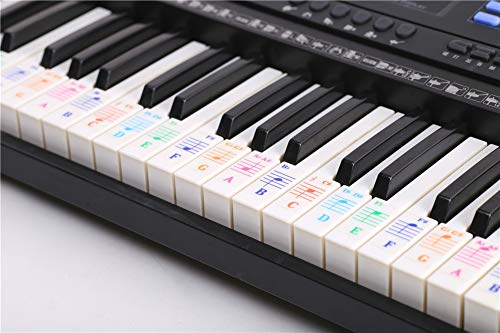 Alician Colorful 88 Key Electronic Keyboard Piano Stave Note Sticker for White Keys