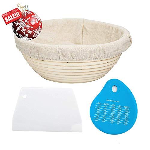 Brajttt 1pcs 9 Round Banneton Brotform Bread Dough Proofing Rising Rattan Basket & Liner,Banneton Proofing Basket Set with 2 pcs Bowl Scraper- for Home Bakers (Sourdough Recipe) & Bread Making