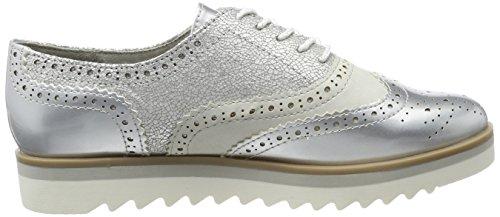 Mujer Comb de para Marco Zapatos Tozzi Brogue Silver Plateado Cordones 23705 tHvvq7Uw0