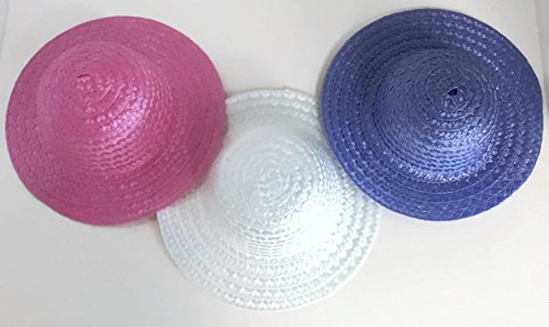 - Pink, White, and Lavender Straw Hats fits 18 inch American Girl Doll Clothes