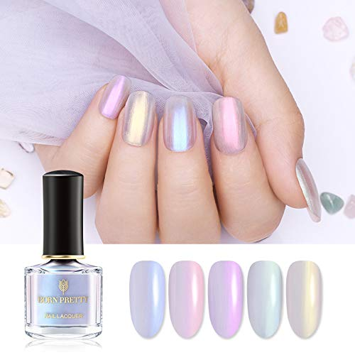 BORN PRETTY Nail Polish Pearl Transparent Shell Glimmer Shiny Shimmer Manicuring Nail Art Varnish White Base Color Needed 5 Colors Set ()