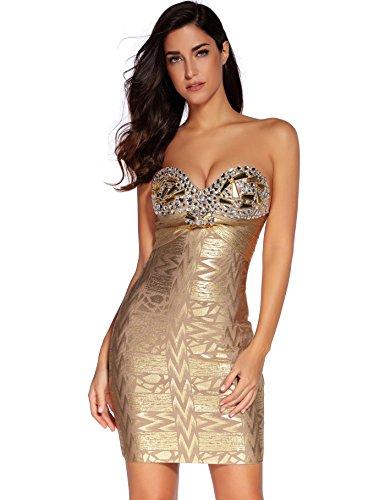 Meilun Women's Strapless Foil Beaded Sexy Mini Bandage Bodycon Gold Dress Small