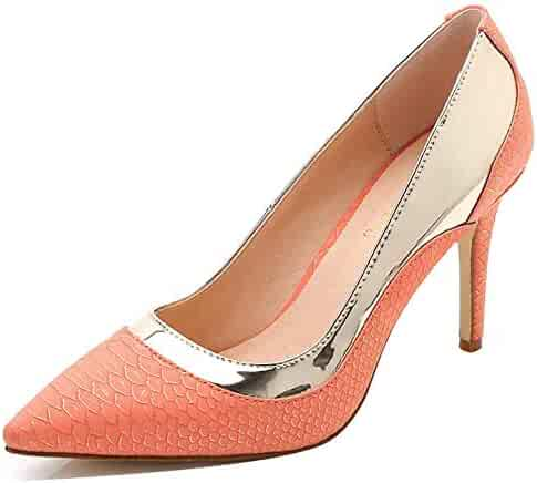 3c300c88f9bbbd Easemax Women s Fashion Snakeskin Pointy Toe Slip on High Stiletto Heel Low  Top Pumps Shoes