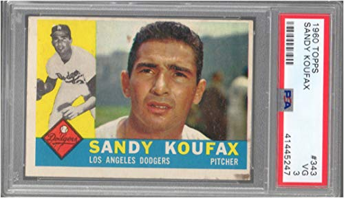 1960 Topps Regular (Baseball) Card# 343 Sandy Koufax (psa) of the Los Angeles Dodgers VG Condition