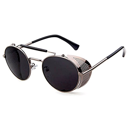 Vintage/Retro Sunglasses Black/Grey Round Frame Metal Side Shield + - Round Metal Sunglasses Frame