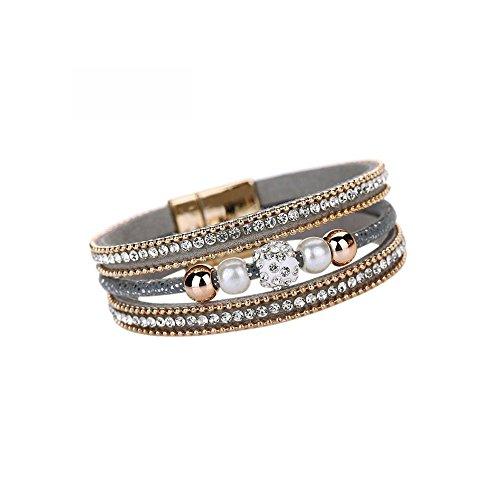 Clearance! Bracelets for women JSPOYOUWomen Multilayer Bangle Bracelet Crystal Beaded Leather Magnetic Wristband (Gray)