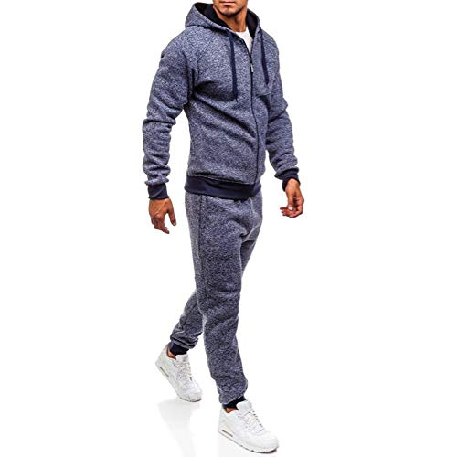 Men's Jogging Full Tracksuit Hoodies Gym Contrast Fleece Joggers Set Tracksuit Top & Bottoms Set (XL, Navy -