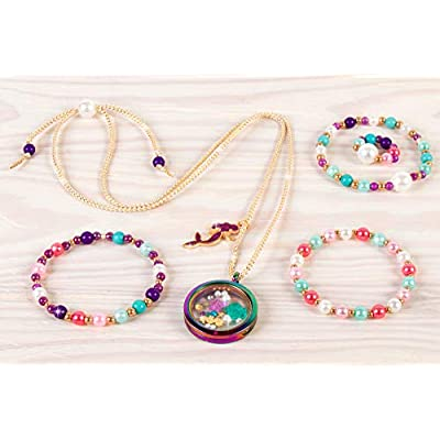Make It Real - Mermaid Treasure Jewelry. DIY Mermaid Themed Jewelry Making Kit for Girls. Guides Tweens to Craft a Unique Pendant Locket Necklace, Ring, and Two Beaded Charm Bracelets: Toys & Games