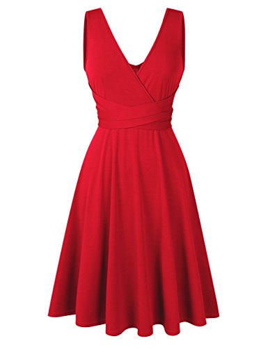 Women Plus Size Sleeveless V Neck Empire Ruched Waist Fit Summer Sun Cocktail Party Dress (XX-Large, Red2) ()