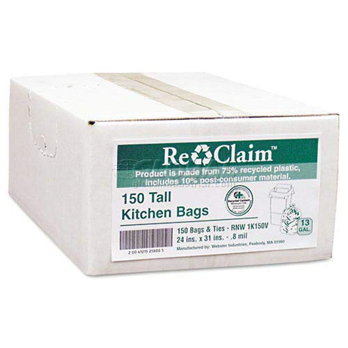 (Reclaim White Recycled Kitchen Bags - 13 Gallon, 0.80 Mil, 150/Case (5)