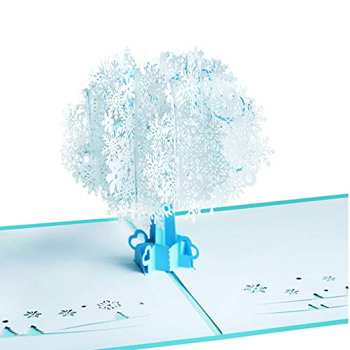 Fusolo 3D Pop Up Christmas cards, Snow tree Cards, Thank you Cards, Birthday Cards, Mom Cards, Greeting Cards (Snow tree)