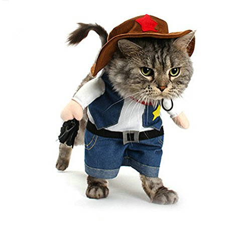 Vevins Pet Cowboy Costume with Hat Clothing for Small Dog Cat Halloween Party Apperal Size S]()