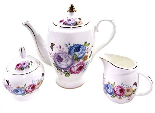 17 Piece Porcelain (Premium Tea Set - 17 Piece Porcelain - Service for 6 with Six Cups and Saucers, Creamer Pitcher and Covered Sugar Cup - Beautiful Pink And Blue Floral Pattern with)