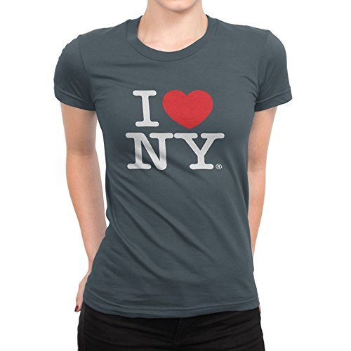 I Love NY New York Womens T-Shirt Ladies Cap Sleeve Tee Heart Charcoal (Fitte... -