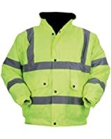 Baratec Yellow Contractor Hi Vis Bomber Jacket Quilt Lining