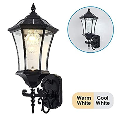 """Solar Wall Lantern Outdoor, Wireless Dusk to Dawn Solar Wall Mount Light, 21"""" Large, LED Wall Sconce Fixture with Clear Glass and Aluminum Housing, Weatherproof"""