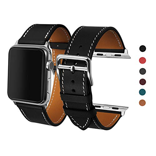 CAILIN Band for Apple Watch Series 1 Series 2Series 3, Luxury Genuine Leather Smart Watch Band Strap Single Tour Replacement...