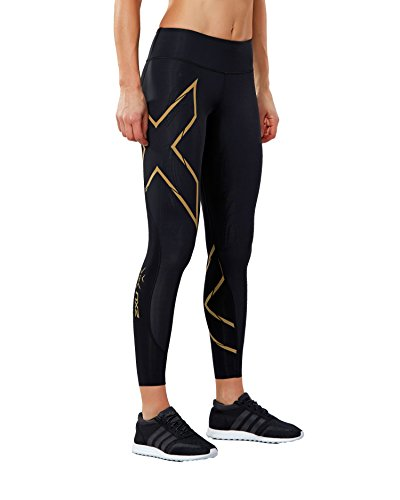 2XU Women's MCS Run Compression Tights, Black/Gold, Medium