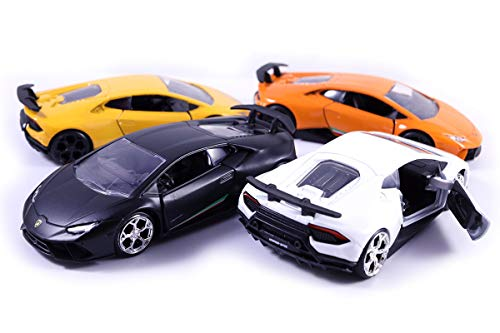 HCK Set of 4 2017 Lambo Huracan Performante - Pull Back Toy Cars 1:32 Scale (Black, White, Yellow, ()