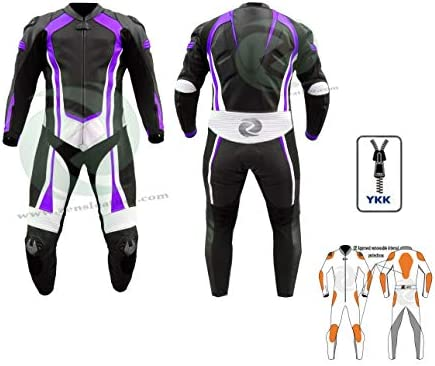 ZENS Leather Traje de cuero púrpura y negro para mujer, para ...