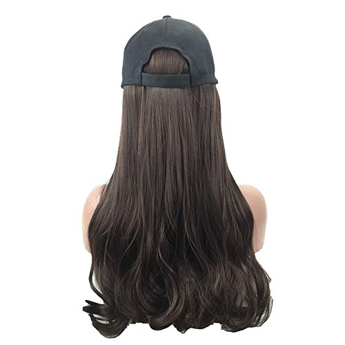 Naiflowers Cap Wig, Long Curly Wig Baseball Hat 20 inch Long Hair Baseball Cap Ball Caps Casual Hat with Wig for Women Girls (Black)]()
