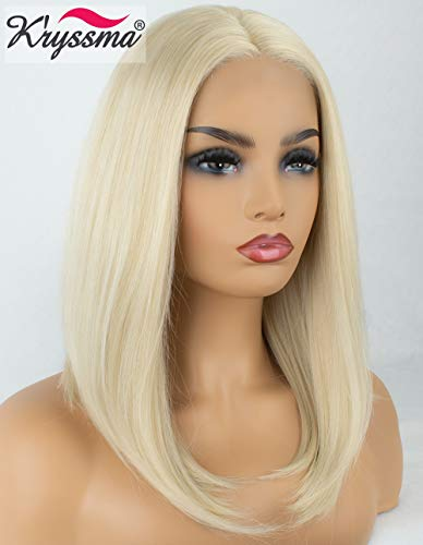 K'ryssma Platinum Blonde Short Bob Lace Front Wigs For White Women Christmas Natural Looking Straight Mixed Blonde Color Shoulder Length Glueless Synthetic Wigs For Daily Wear Heat Resistant