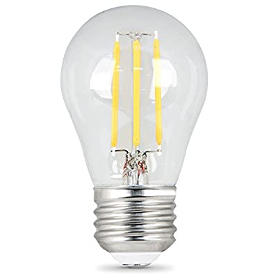 Feit Electric - Decorative Clear Glass Filament LED Dimmable 25W Equivalent Soft White (2700K) Classic A15 Light Bulb, Pack of 2 (BPA1525/827/LED/2)