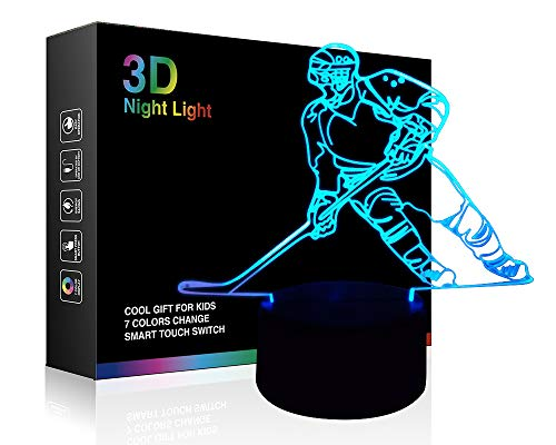 Hockey Player 3D Lamp Night Lights for Kids 7 LED Color Changing Touch Table Desk Lamps Lighting Cool Toys Gifts Birthday Xmas Decoration for Sports Hockey Fan ()