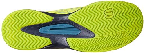 Wilson Kaos Hombres All Court Tenis Zapato Lime Punch / Azul Marino / Azul Coral
