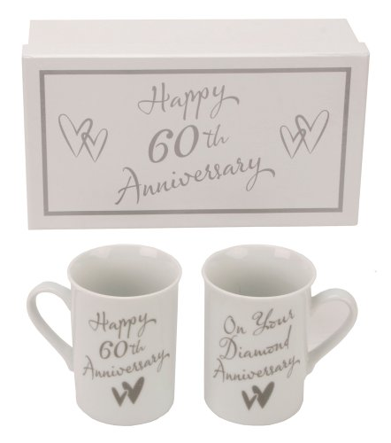 60th Diamond Anniversary Gift Boxed Porcelain Mugs By Haysom Interiors