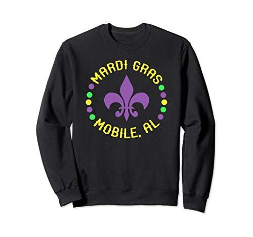 Mardi Gras Mobile Sweatshirt Mobile AL Fleur De Lis Beads ()