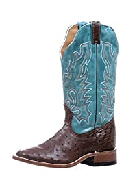 Boulet Western Boots Womens Ostrich Exotic Square Kango Tabaco 5508