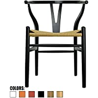 2xhome - Black - Wishbone Wood Arm Chair Armchair Modern Black with Natural Woven Seat Dining Room Chair
