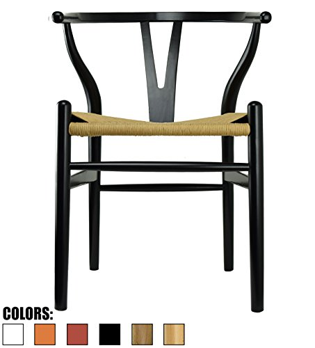 2xhome Black - Wishbone Wood Arm Chair Armchair Modern Black with Natural Woven Seat Dining Room ()