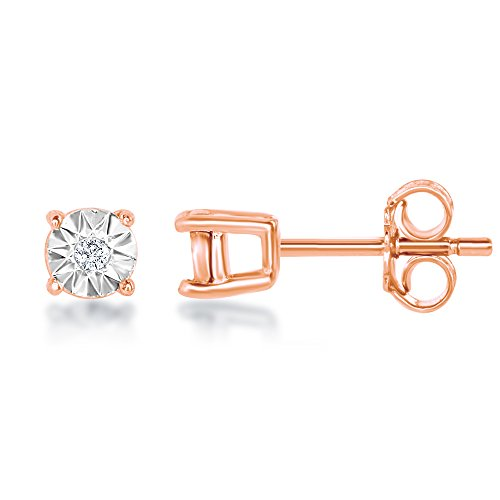 Rose Cut Illusion (Sterling Silver 925 Rose Gold Plated Genuine Round Diamond and Sparkling Illusion-Cut Setting 3mm Stud Earrings Hypoallergenic)