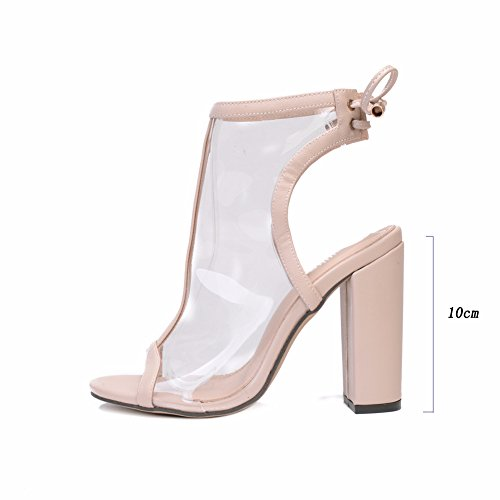 HONGANG Frauen Kristall Block Transparent Hochhackige Offene Zehen Sandalen Celeb Ankle Lace Up Party Schuhe Beige
