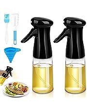 Laelr Olive Oil Sprayer 2Packs, 200ml Oil Dispenser Bottle with Basting Brush, Funnel, Cleaning Brush, Refillable Oil Sprayer Bottle for Cooking, BBQ, Baking, Air Fryer, Making Salad