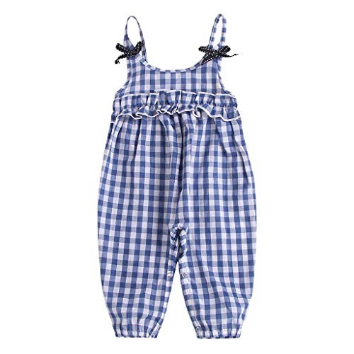 (Newborn Girl Romper Baby Girls Sleeveless Plaid Ruffles Jumpsuit Footed Overall Outfit Set (Age: 18-24Months,)