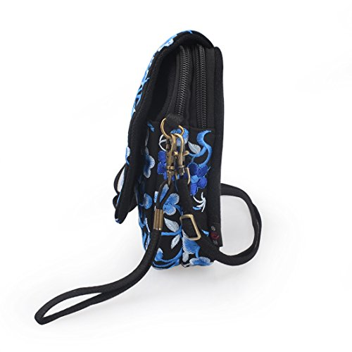 Purse Wallet Bag Blue Jiyaru Embroidered Crossbody Shoulder Women Mini Cellphone Bag qIxEfaw