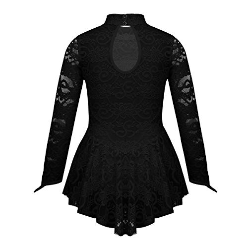 iEFiEL Kids Girls Long Sleeves Floral Lace Figure Ice Roller Skating Ballet Dance Leotard Dress Mock Neck Black 7-8