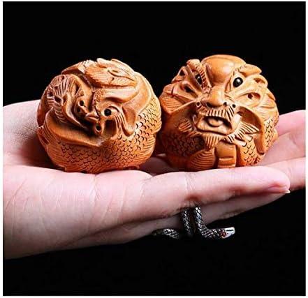 Ashy-wlj 長老のために遊びのに誕生日プレゼントを送信するためにフィットネスボールハンドボール、Longfeng Chengxiang健康ハンドボール、ペンダントを彫刻フィットネスボール、ピーチ (サイズ : 4.5cm)
